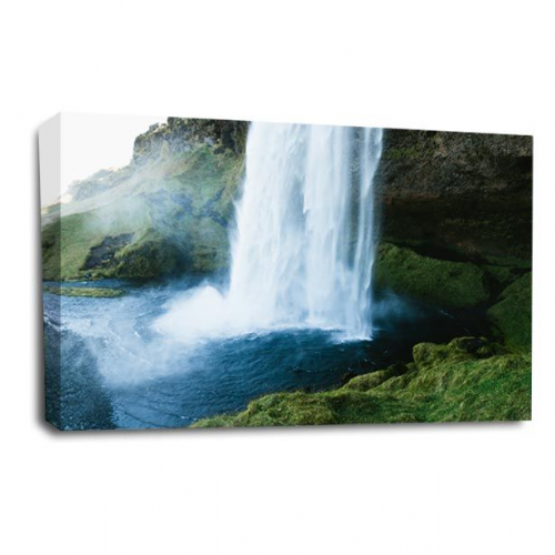 Waterfall Wall Art Picture Forest Wood White Grey Black Large Print